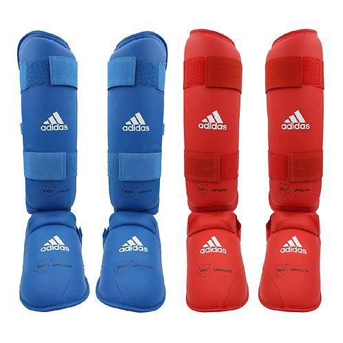 Kit Karate adidas Caneleiras Azul e Vermelha WKF Approved