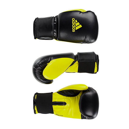 Luva de Boxe Muay Thai Adidas Power 100 Colors Preto/Amarelo