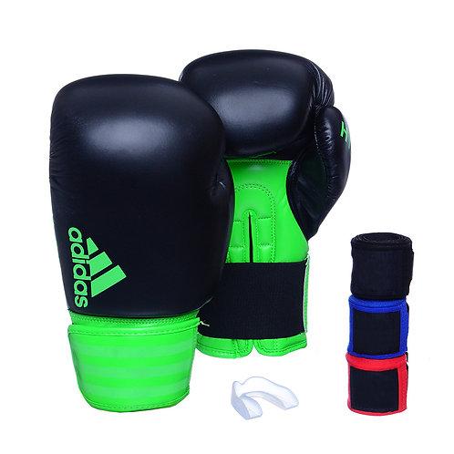 Luva Adidas Hybrid 100 Preto/Verde + 3 Bandagens e Bucal Simples