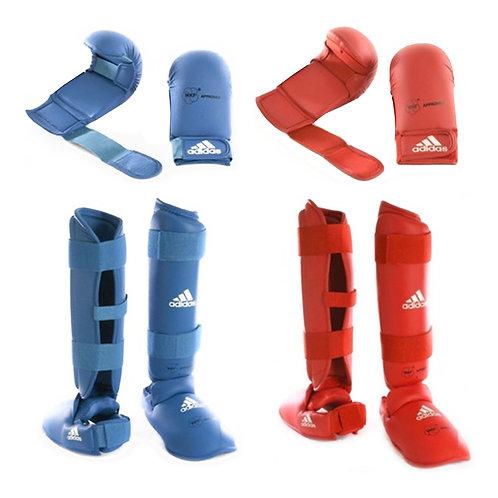 Kit Karate Protetores Adidas Caneleiras + Luvas sem dedão Vermelha e Azul WKF