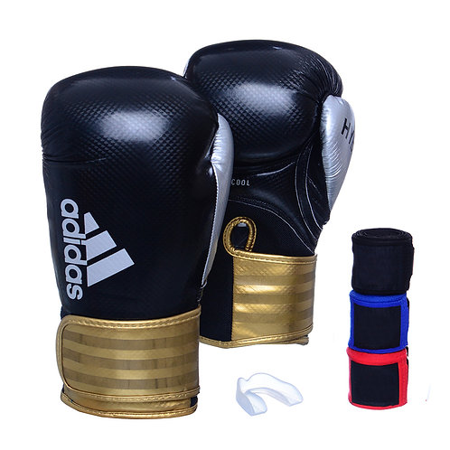 Kit Luva Adidas Hybrid 65 Preto/Dourado + 3 Bandagens e Bucal Simples