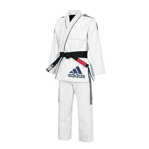 Kimono adidas Jiu Jitsu JJ430 Contest Branco com Listas Azul Escura 2.0