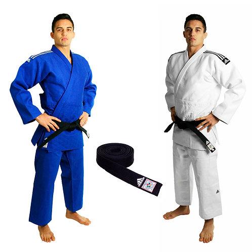 KIT 2 Kimonos Judô Champion II adidas IJF (Azul + Branco) e Faixa Preta IJF
