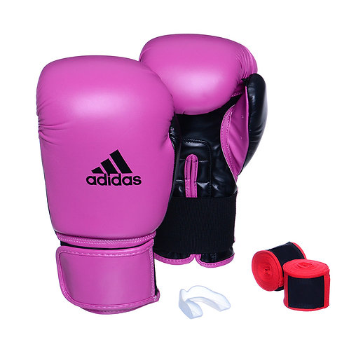 Kit Luva Adidas Power 100 Colors Rosa/Preto + Bandagem e Bucal Simples Grátis