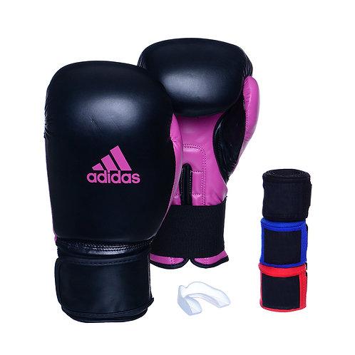 Kit Luva Adidas Power 100 Colors Preto/Rosa + 3 Bandagens e Bucal Simples