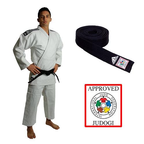 KIT Kimono Judô Champion II adidas Selo Eletrônico da IJF Branco + Faixa