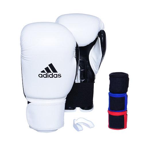 Kit Luva Adidas Power 100 Colors Branco/Preto + 3 Bandagens e Bucal Simples