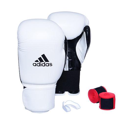 Kit Luva Adidas Power 100 Colors Branco/Preto + Bandagem e Bucal Simples Grátis