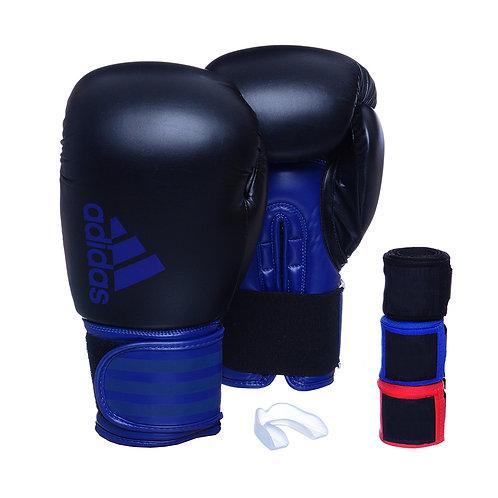 Luva Adidas Hybrid 100 Preto/Azul + 3 Bandagens e Bucal Simples