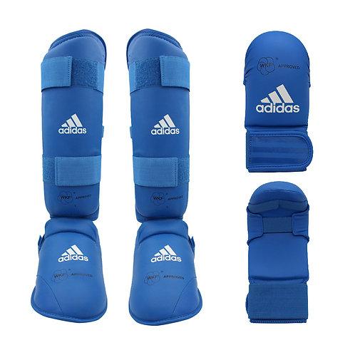 Kit Karate adidas Caneleira + Luva sem dedão Azul WKF Approved