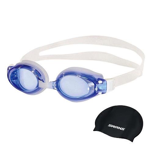 Óculos para Natação Optic SWANS com grau Azul + Touca