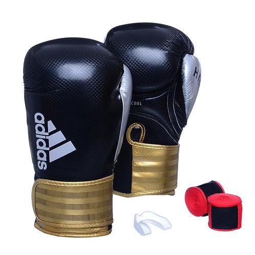Kit Luva Adidas Hybrid 65 Preto/Dourado + Bandagem e Bucal Simples Grátis