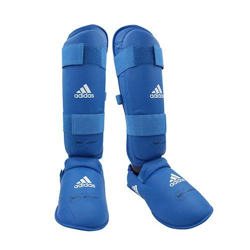 Caneleira Karate adidas com Protetor de Pé Azul WKF Approved