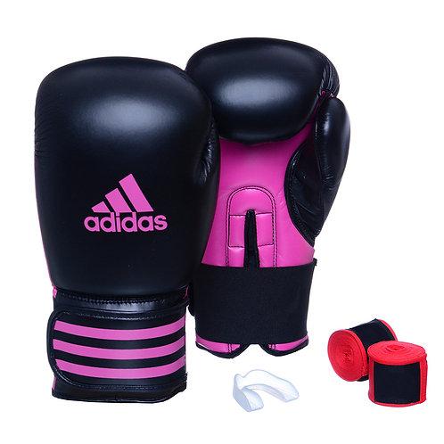 Kit Luva Boxe Adidas Power 100 Preto/Rosa + Bandagem e Bucal Simples