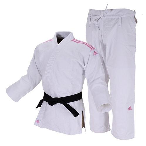 Kimono Judô Adidas Quest J690 Branco com Faixas Bordadas em Rosa