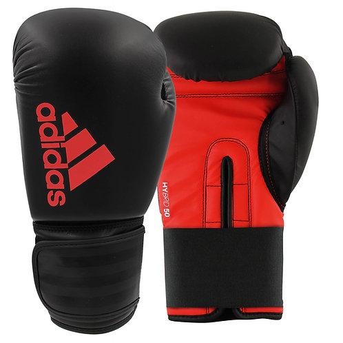 Luva de Boxe Muay Thai Adidas Hybrid 50 Black & Red