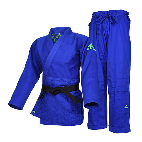 Kimono Judo J990 adidas Millenium Azul Bordado Verde