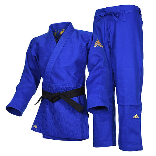 Kimono Judo J990 adidas Millenium Azul Bordado Dourado