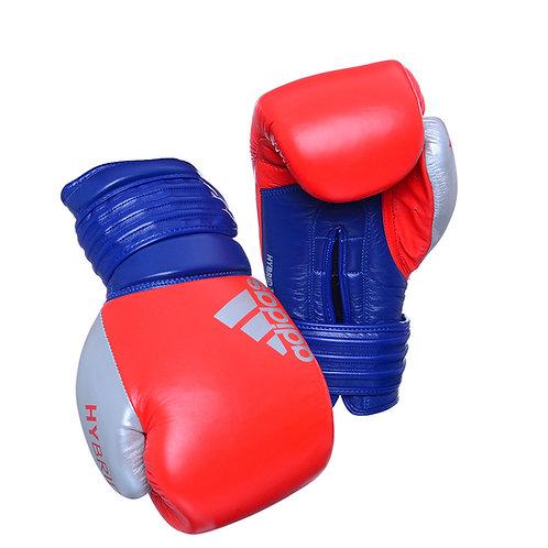 Luva de Boxe Muay Thai Adidas Hybrid 300 Vermelho/Azul 100% Couro
