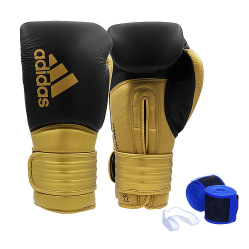 Kit Luva Boxe Adidas Hybrid 300 Preto/Dourado + Bandagem e Bucal Simples