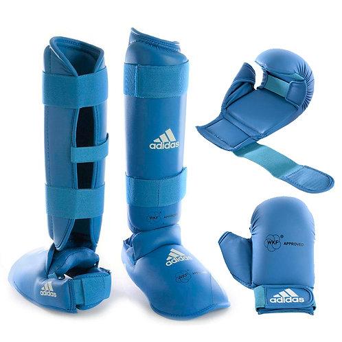 Kit Karate Protetores Adidas Caneleira + Luva com dedão Azul WKF