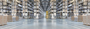 Huge distribution warehouse with high sh