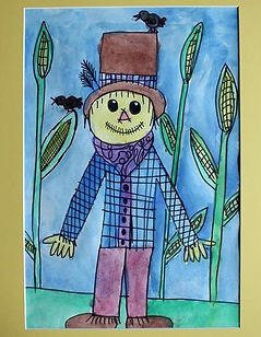 picture of a scarecrow, painted