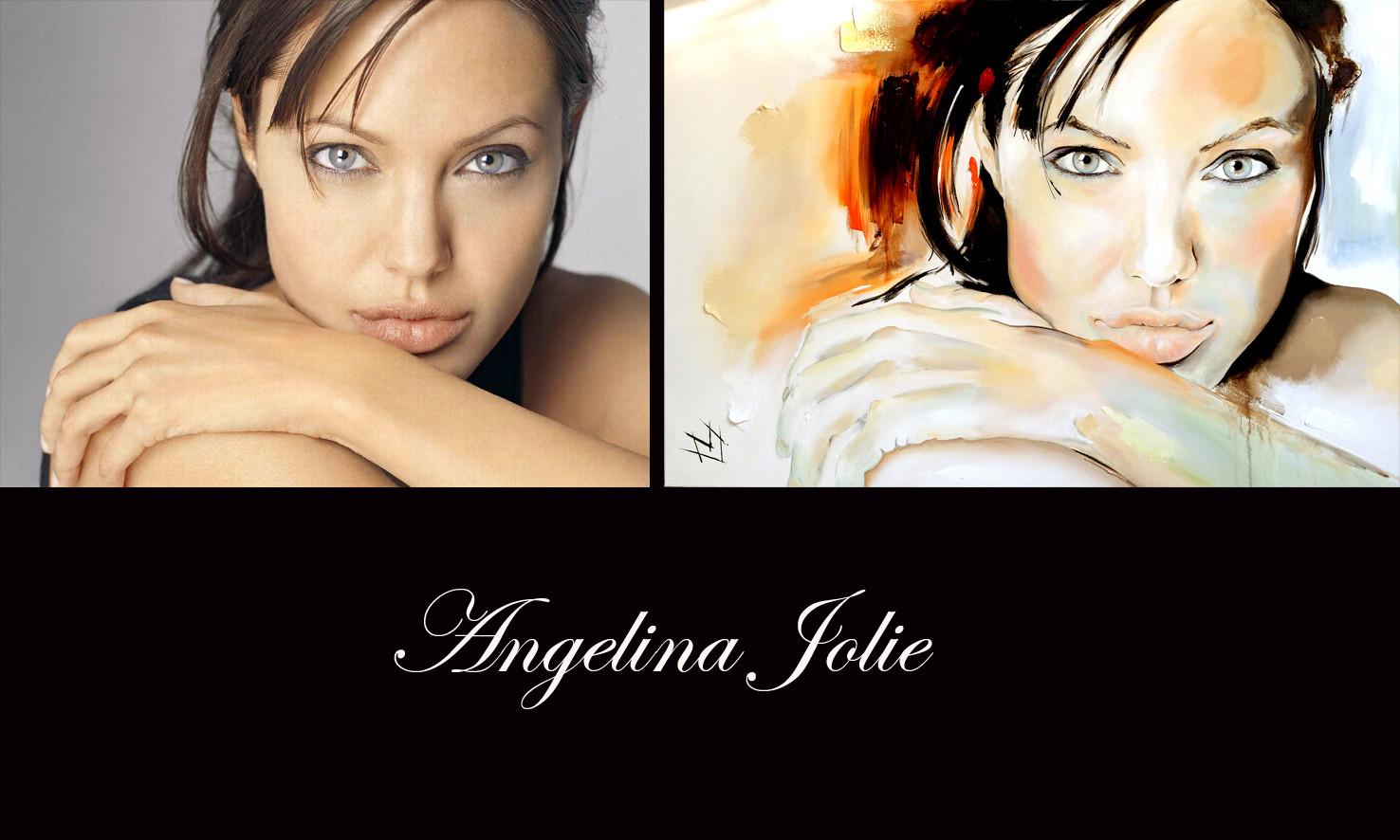 Angelina Jolie - foto en schilderij