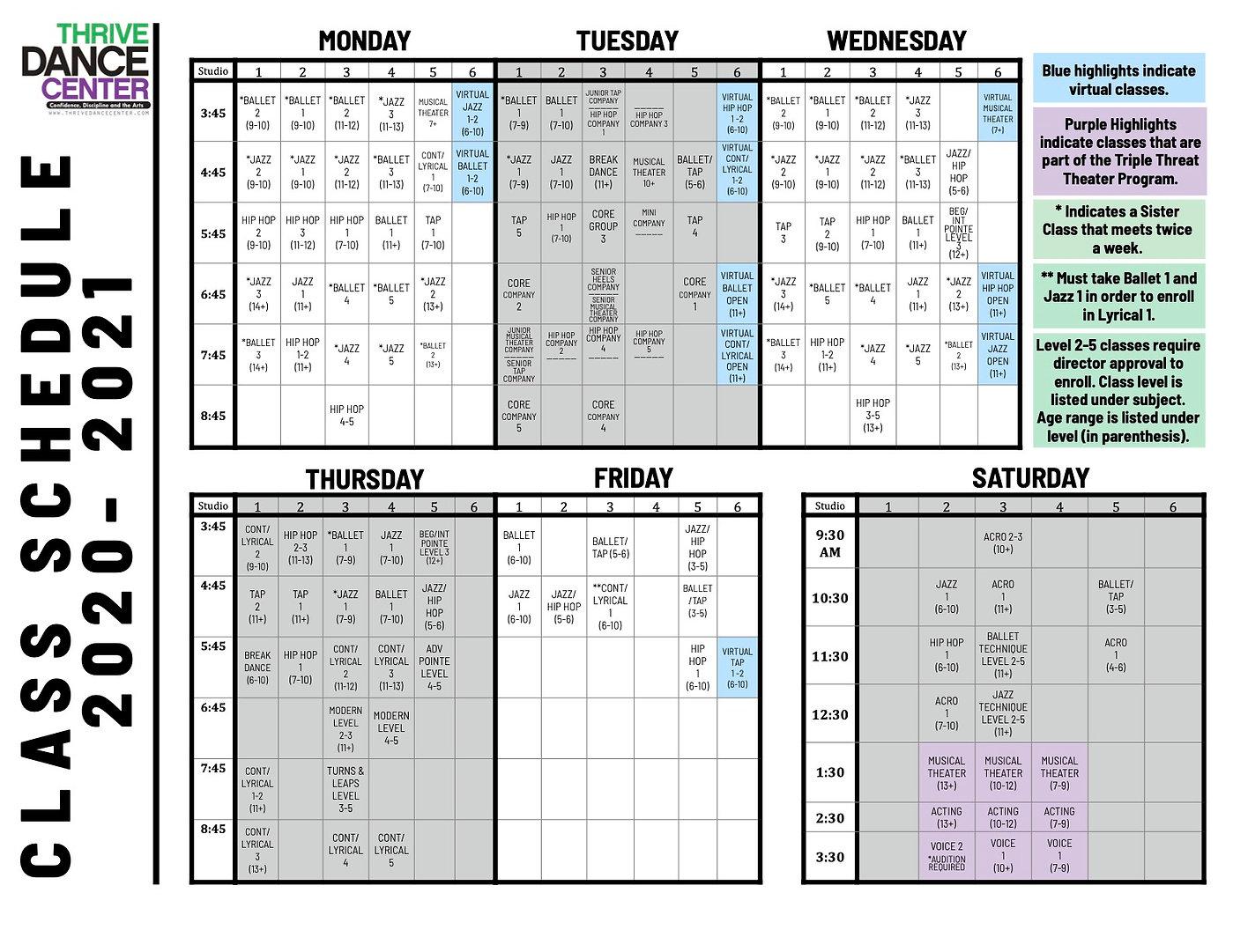 Class Schedule 2020-21 - Thrive Dance Ce