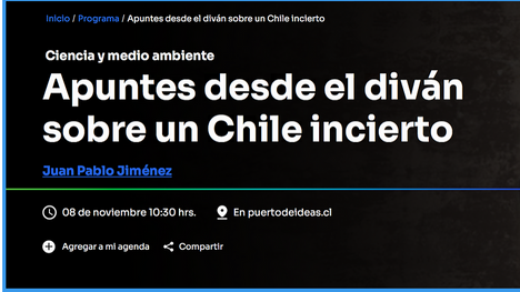 """Dr.Juan Pablo Jiménez expuso su trabajo: """"Apuntes desde el diván sobre un Chile incierto"""""""