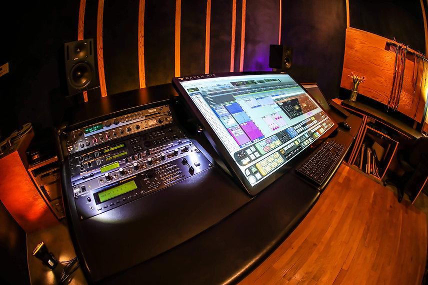 High-end recording studio equipment at Harvest Moon Studios in Martinez, CA.