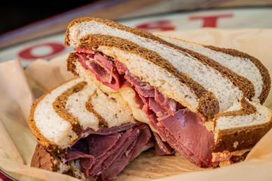 West Coast Sourdough Yuba City CA Reuben Sandwich on Marble Rye