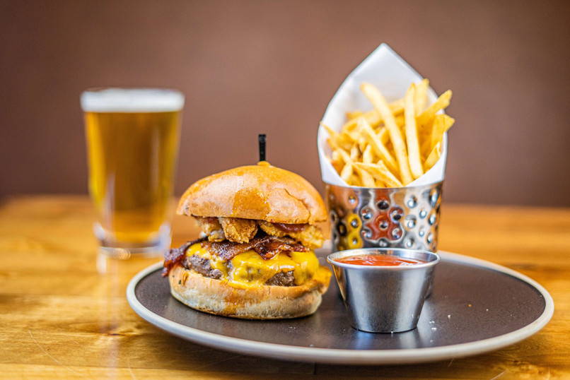 The Hub Natomas CA Mouthwatering Burger and Fries