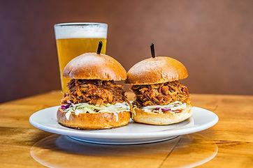 The Hub Natomas CA Pulled Pork Sliders and Beer