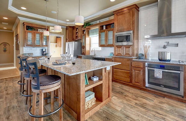 Large kitchen in prebuilt homes, Paradise Homes
