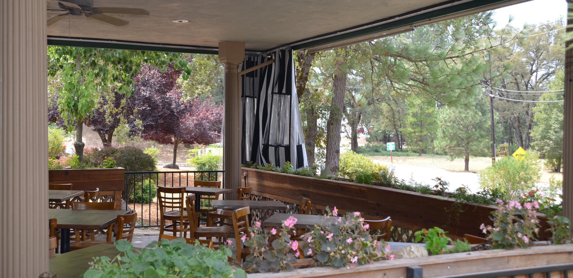 The Tin Lantern Bar & Grill. Outdoor Padio. Meadow Vista, CA.