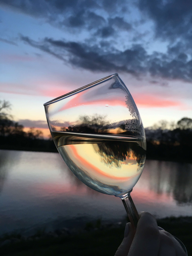 Rancho Roble Wine Glass in the Sunset
