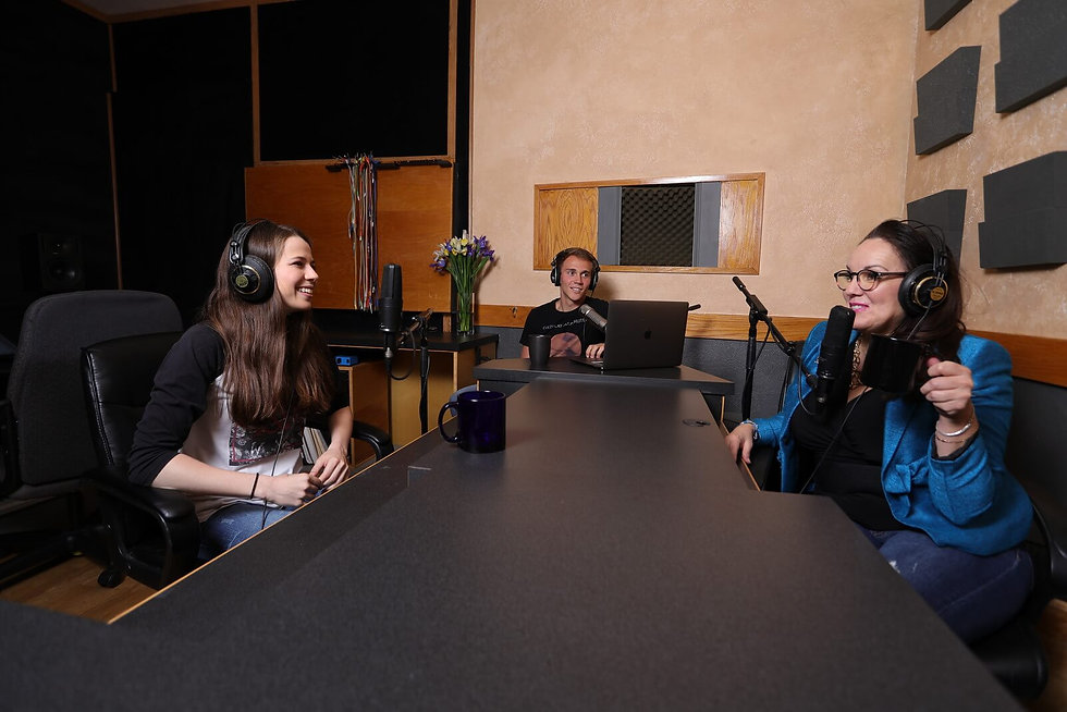 Informative podcast recording collaboration at Harvest Moon Studios in Martinez, CA.