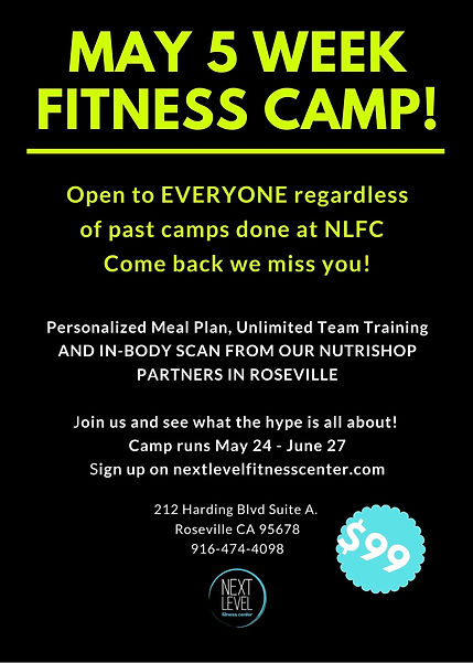Next Level Fitness Center May 2021 Camp