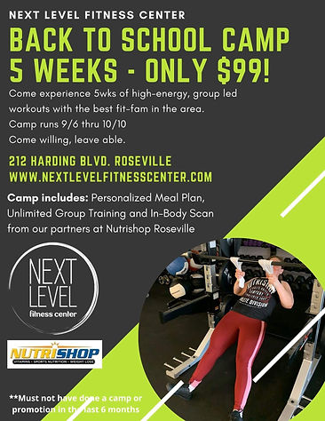 Next Level Fitness Roseville, CA Back to School Fitness Camp