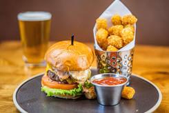 The Hub Natomas CA Huge Burger and Tots