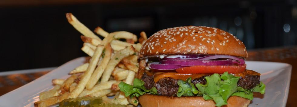 The Tin Lantern Bar & Grill. Burger and Fries. Meadow Vista, CA.