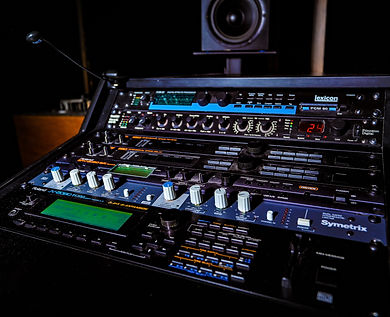 High tech recording equipment at Harvest Moon Studios.