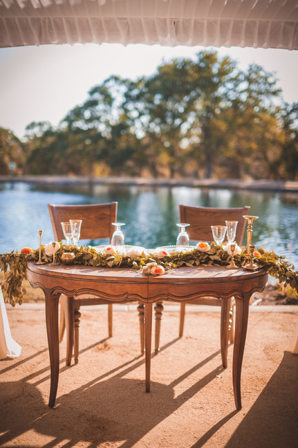 Rancho Roble Table in Front of Pond
