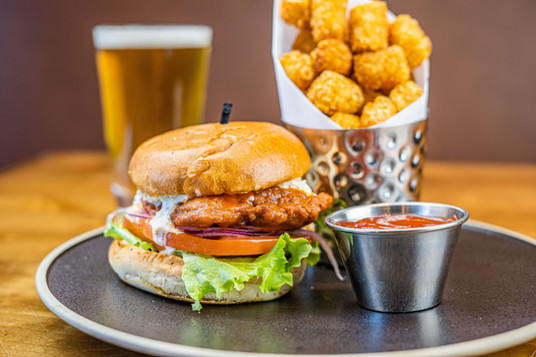 The Hub Natomas CA Large Chicken Sandwich and Tots