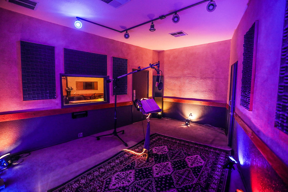 Sound proof recording room with high-end equipment at Harvest Moon Studios in Martinez, CA.