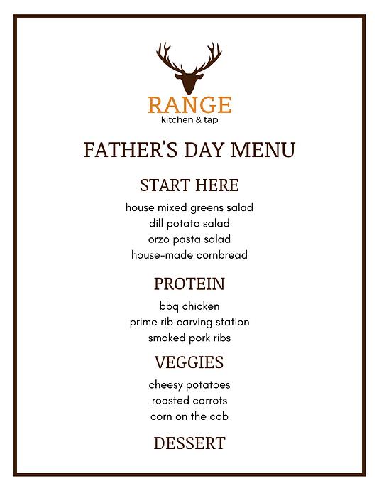 Range Kitchen & Tap Father's Day Menu