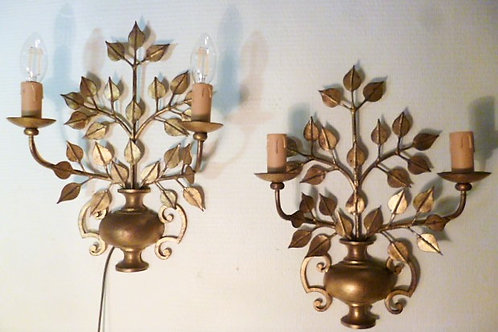Paire d'appliques feuillage doré style Jansen