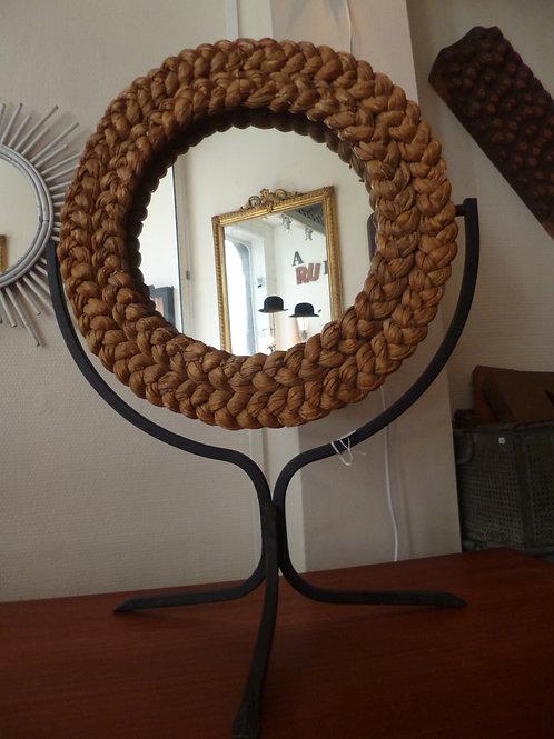miroir osier sur pied métal