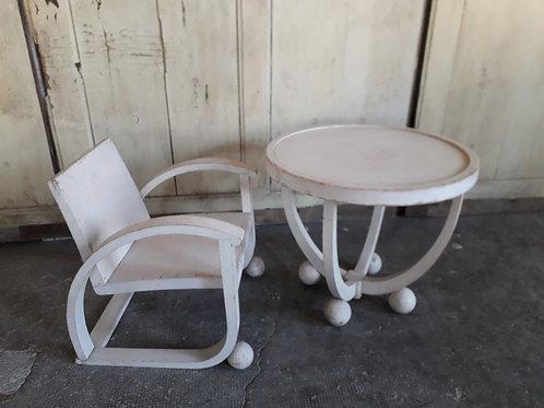Fauteuil et table pour enfant art déco